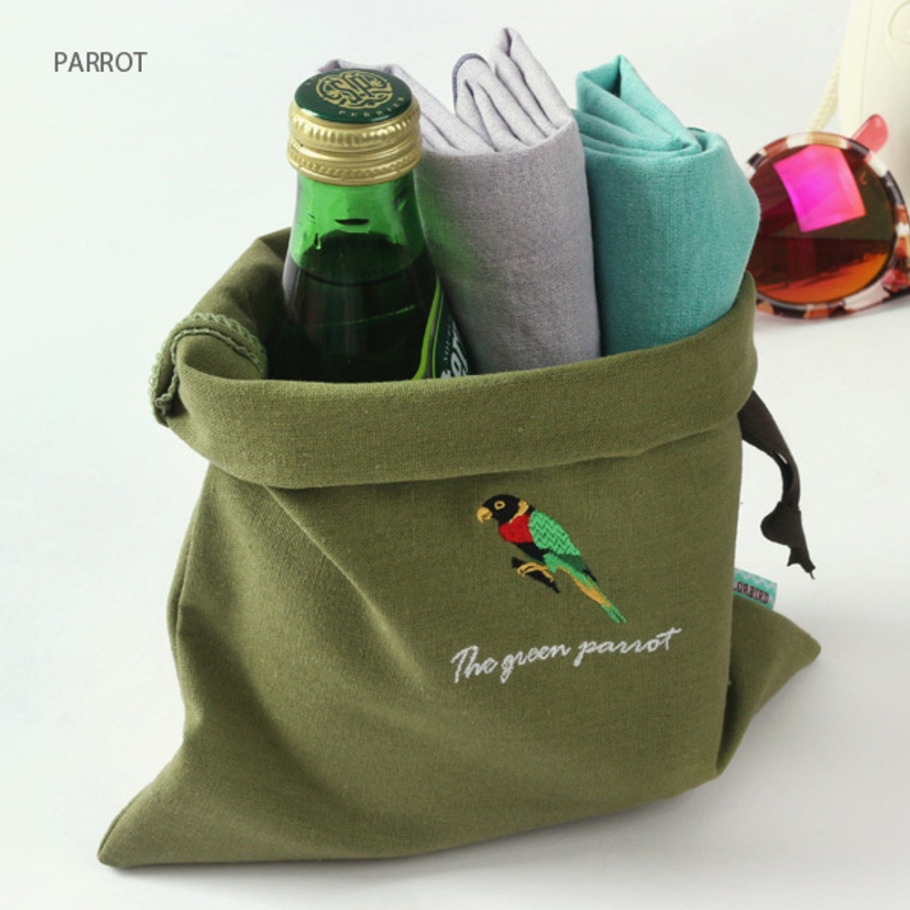 Parrot - Tailorbird animal medium drawstring pouch