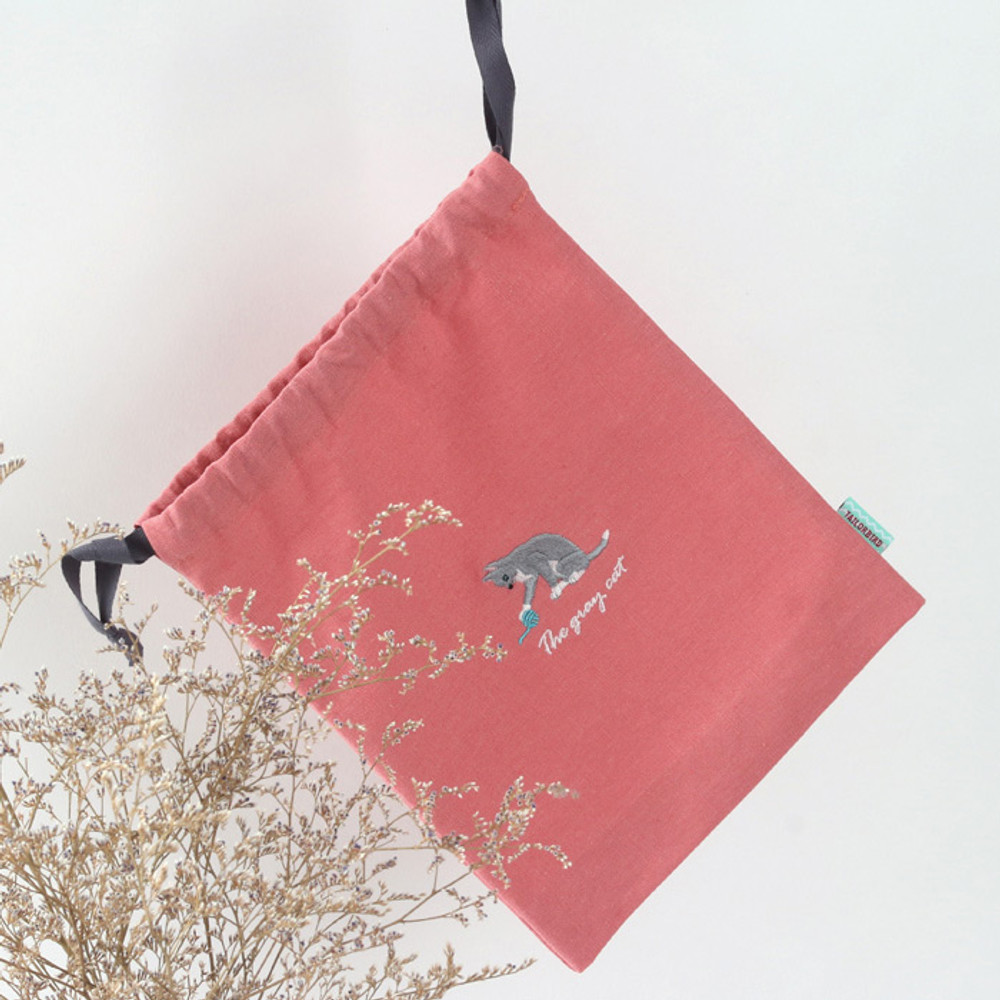 Cat - Tailorbird animal medium drawstring pouch