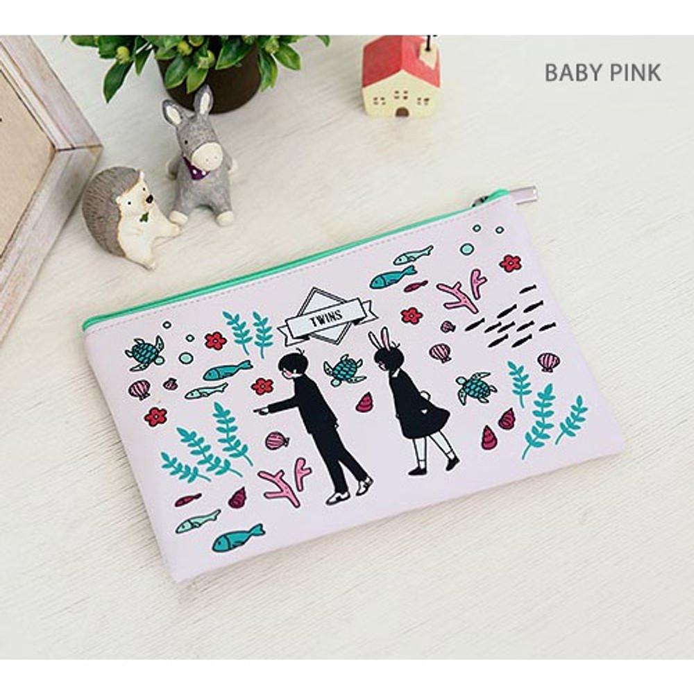 Baby pink - Boy and Girl cartoon zipper pouch