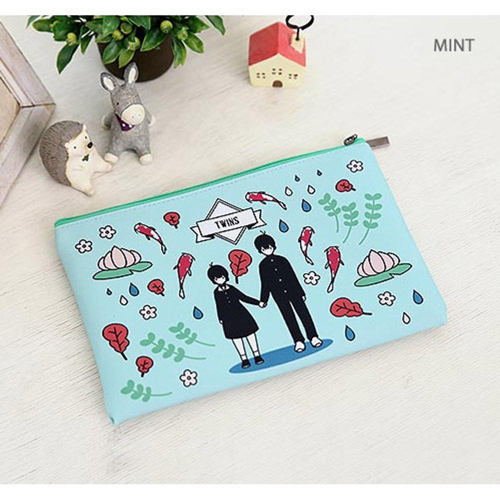Mint - Boy and Girl cartoon zipper pouch