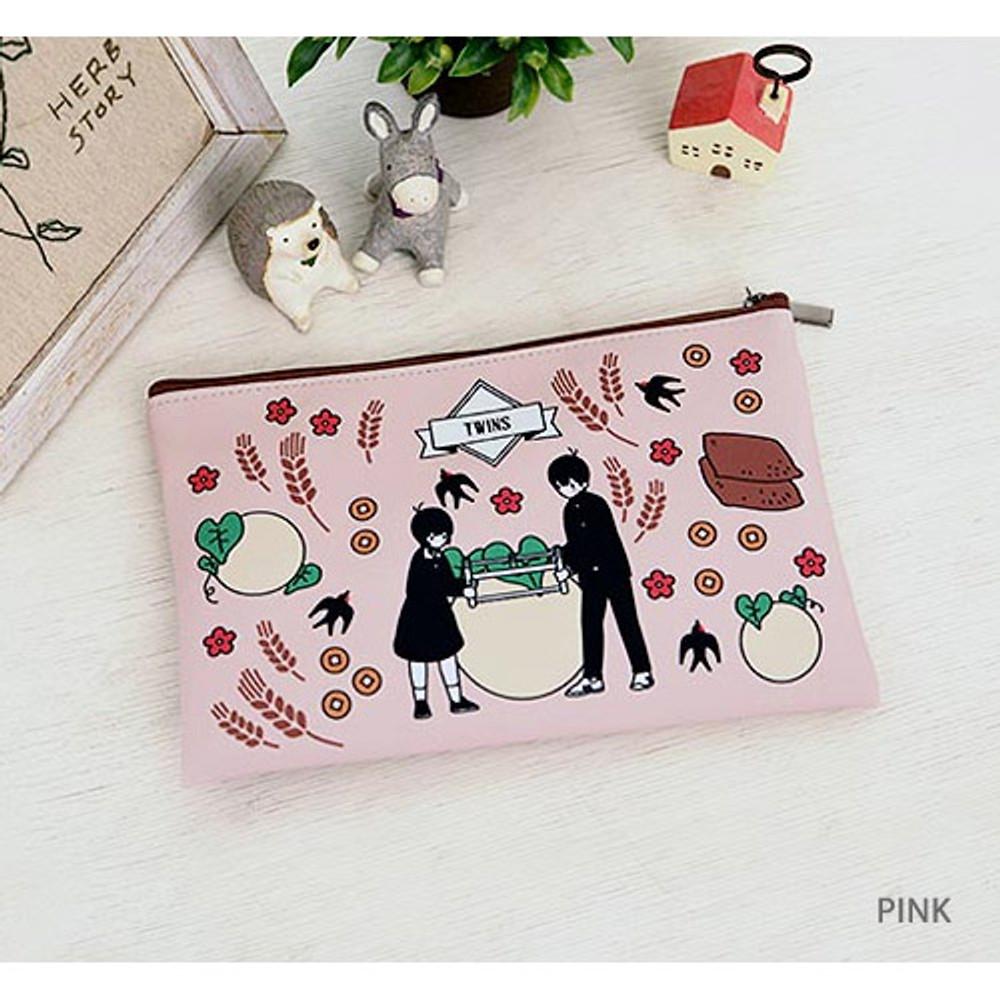 Pink - Boy and Girl cartoon zipper pouch