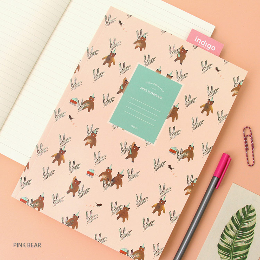 Pink bear - Willow pattern lined notebook