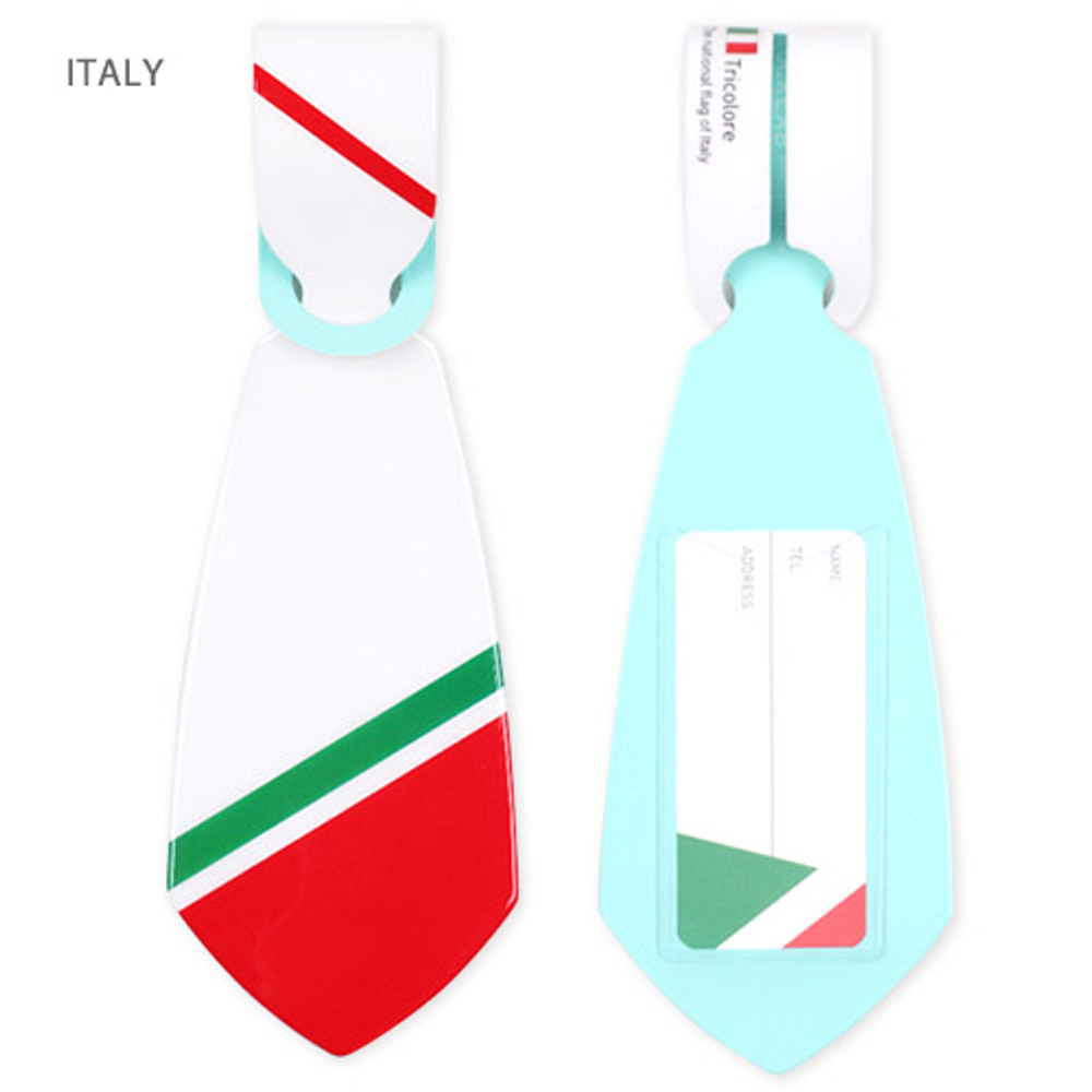 Italy - Flag tie travel luggage name tag