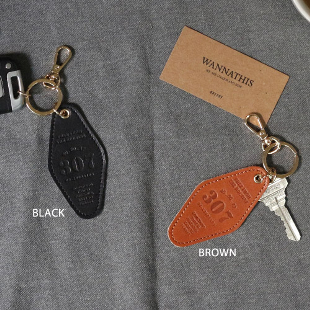 Black, Brown - The Classic leather key ring