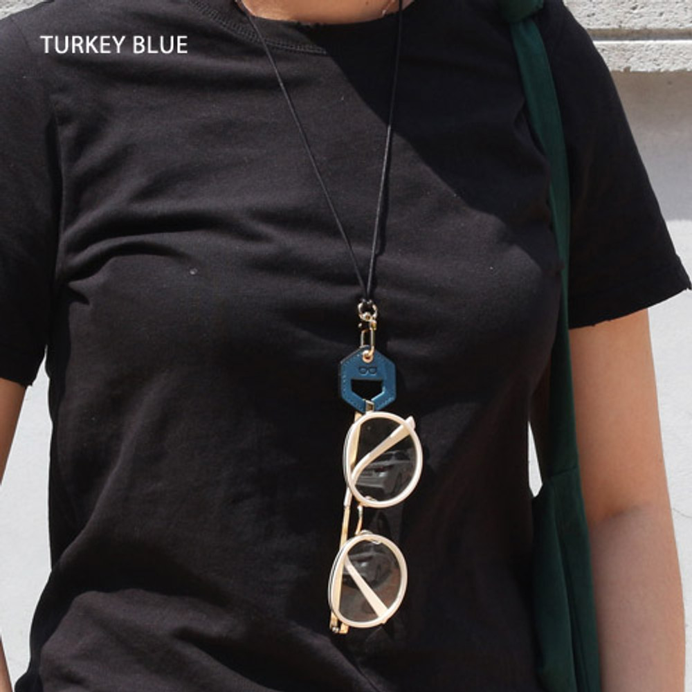 turkey blue - The Classic leather sunglasses necklace