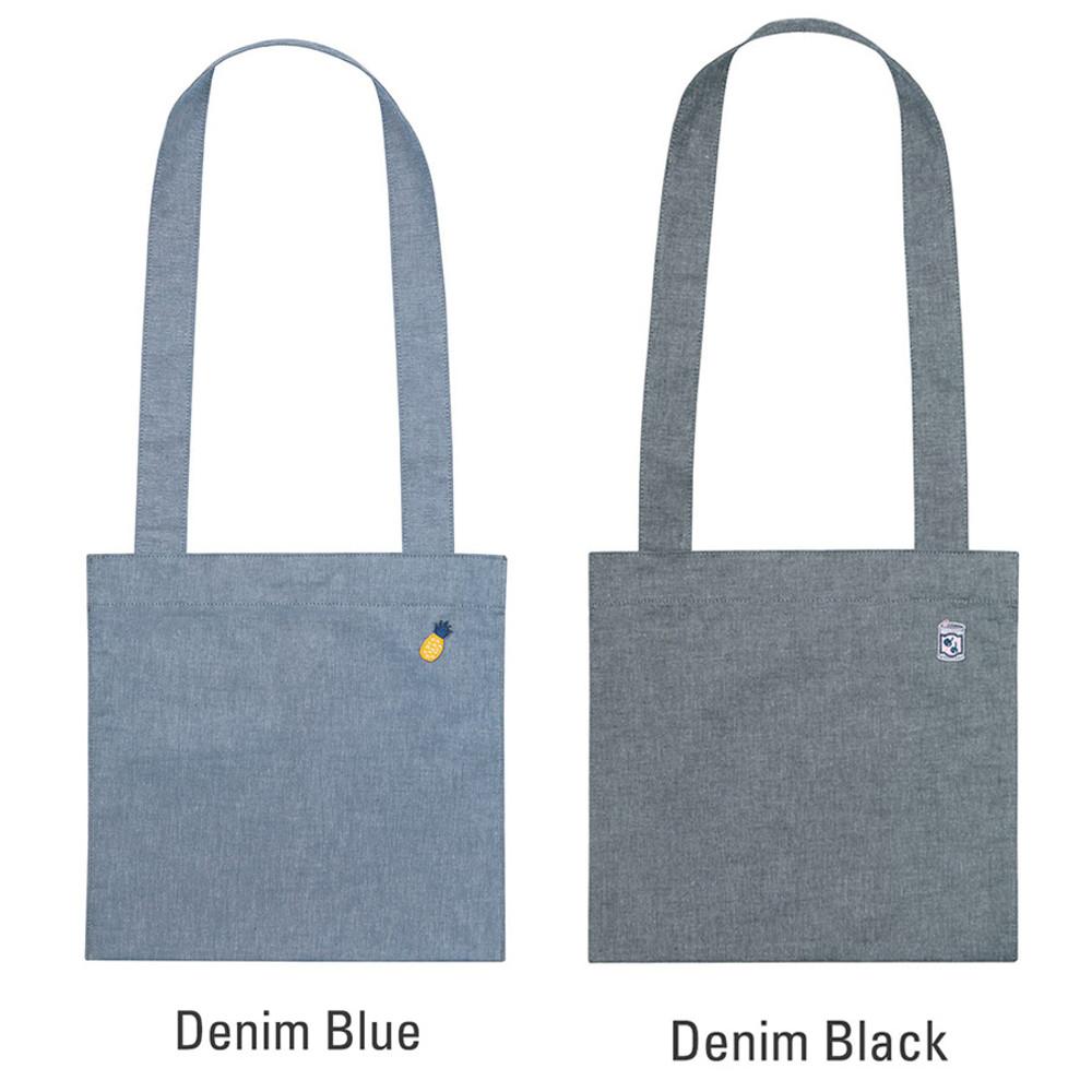 Blue, Black - Tropical travel cotton shoulder bag