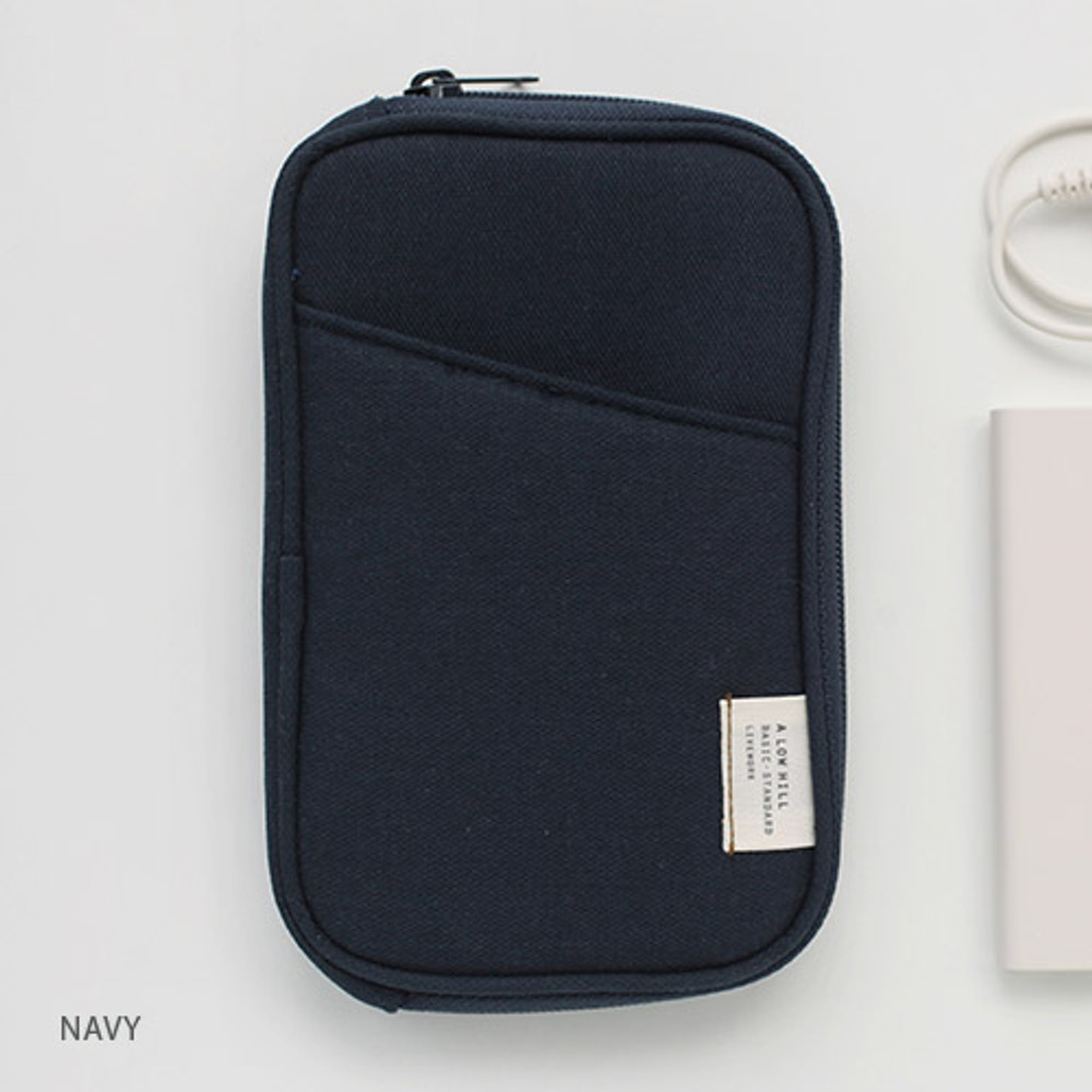 Navy - Travel pocket zip around wallet