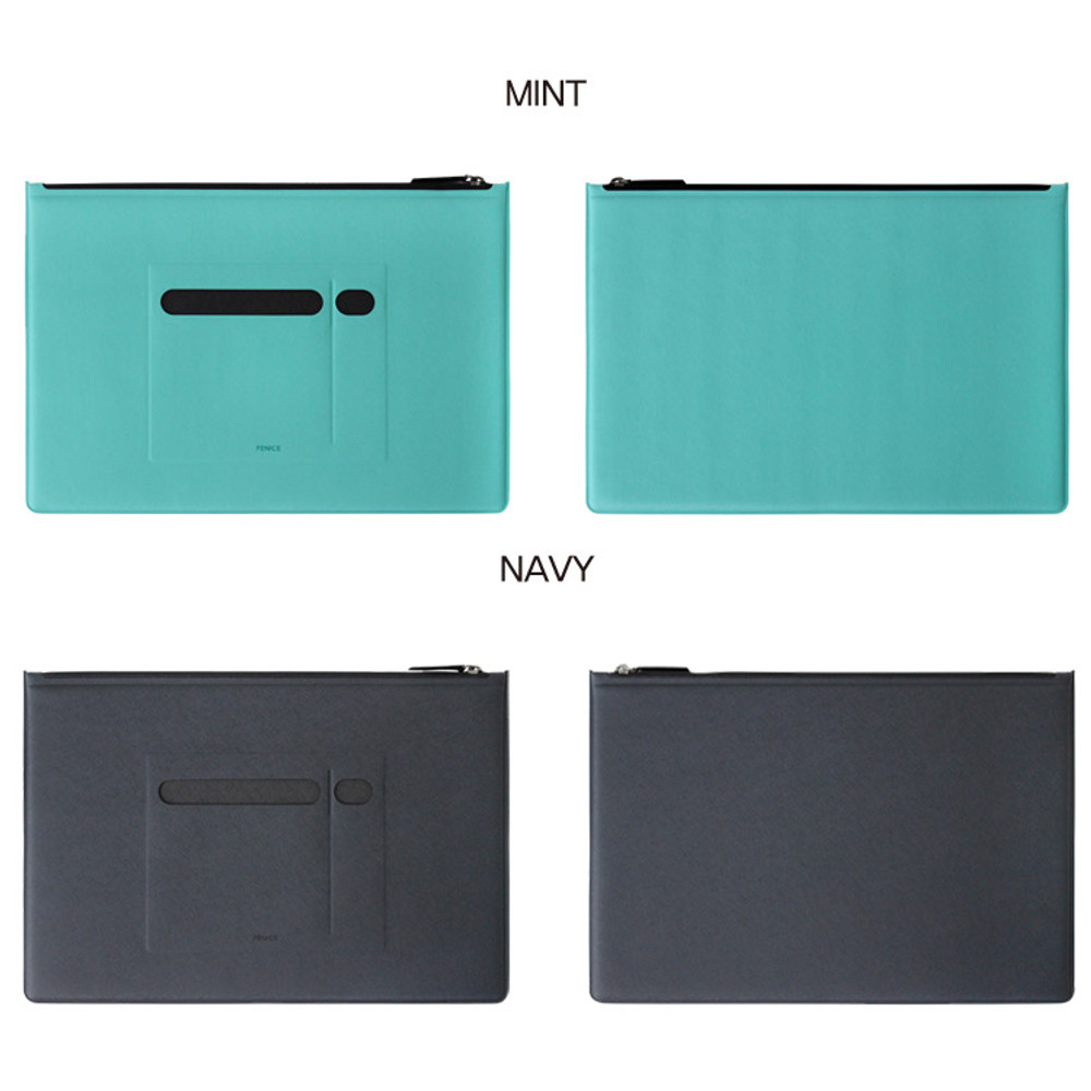 Mint, Navy - Premium business flat multi zipper pouch