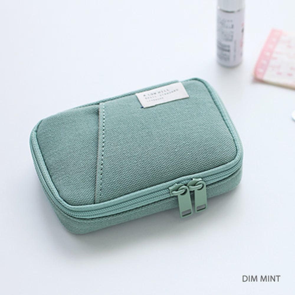 Dim mint - A low hill zip around pocket small pouch