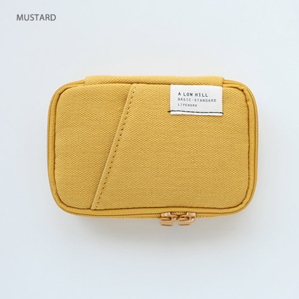 Mustard - A low hill zip around pocket small pouch
