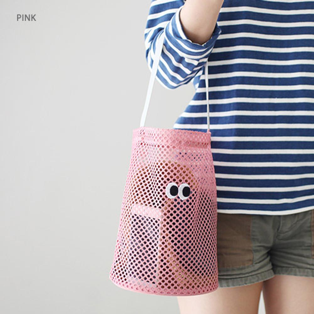 Pink - Som Som stitch mesh tote bag