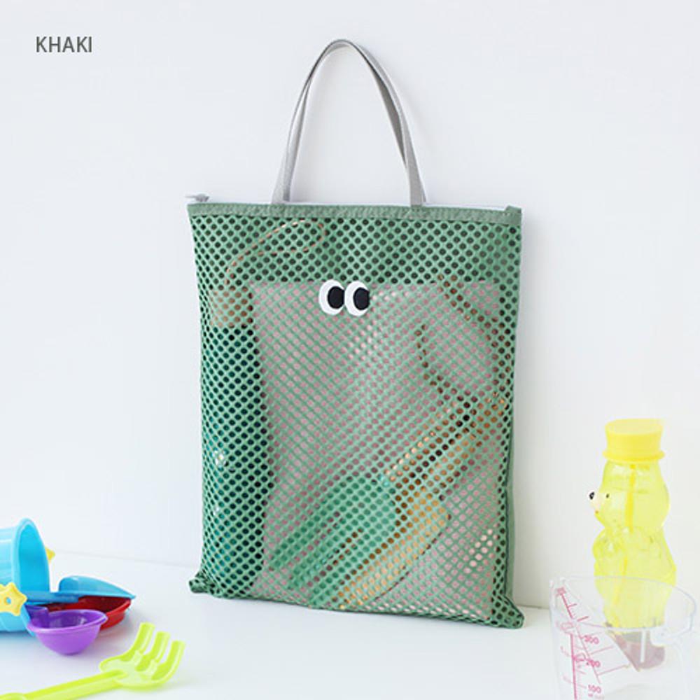 Khaki - Som Som stitch square mesh zipper tote bag