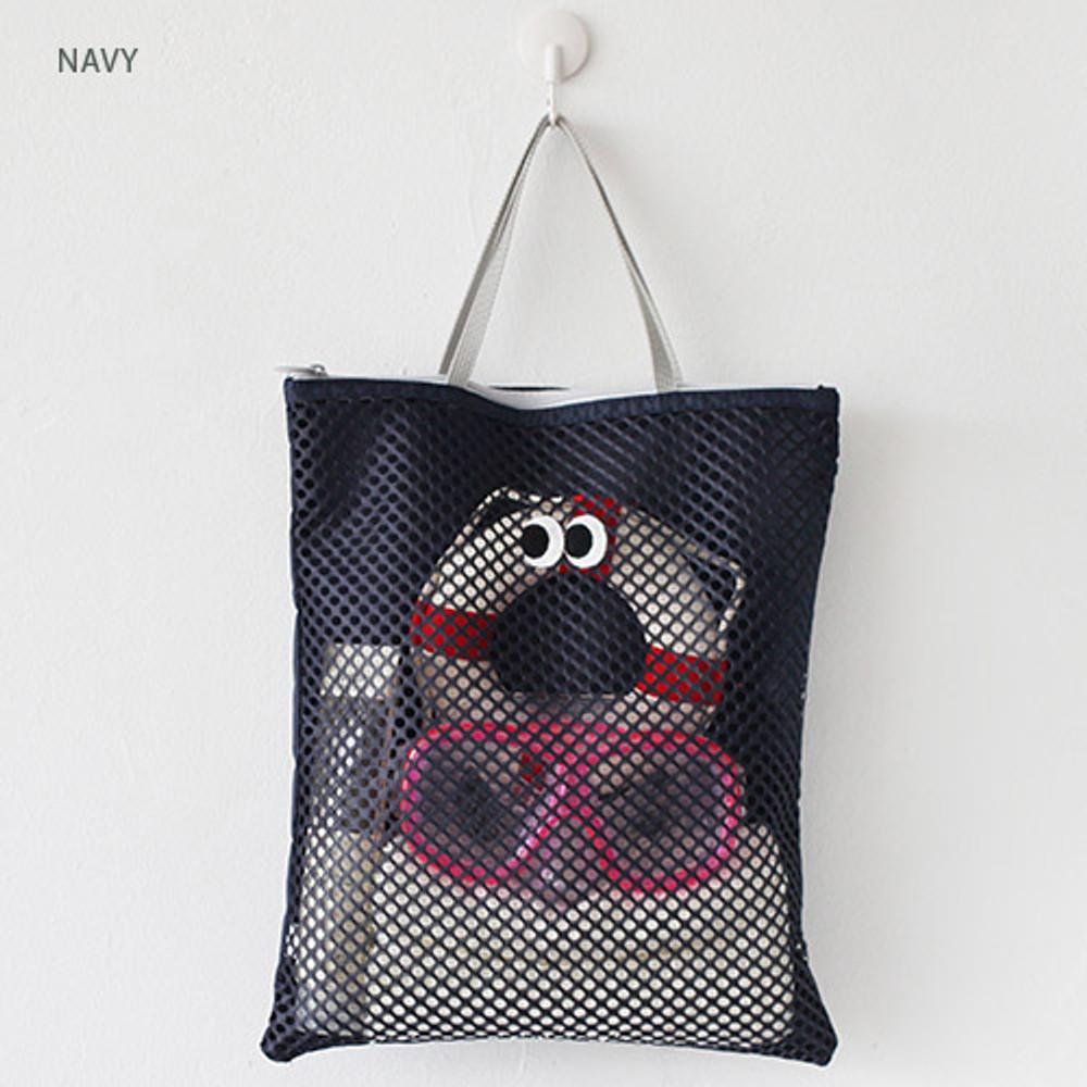 Navy - Som Som stitch square mesh zipper tote bag