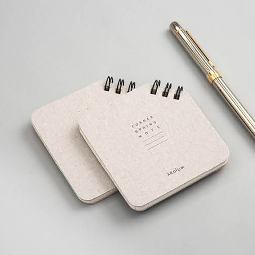 Gray - Corner mini spiral lined/grid notebook