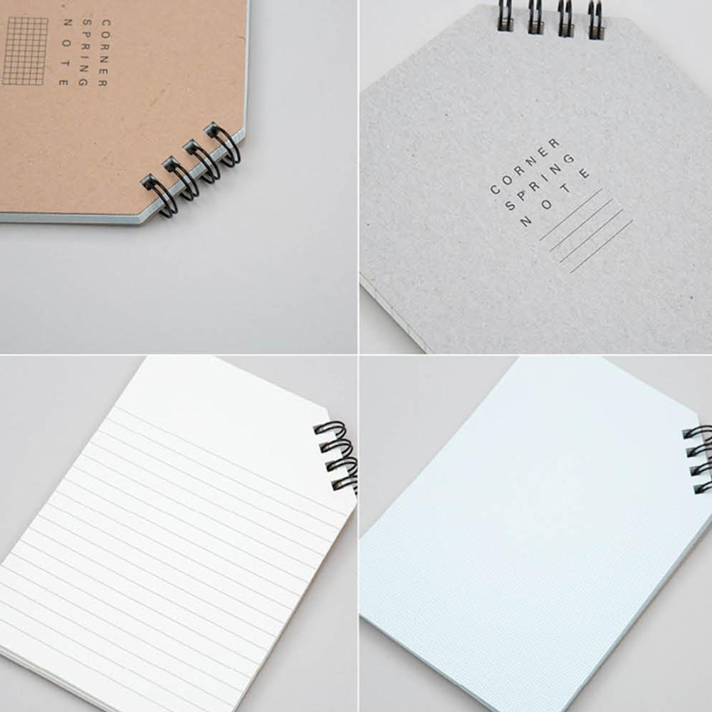 Detail of Corner medium spiral lined/grid notebook