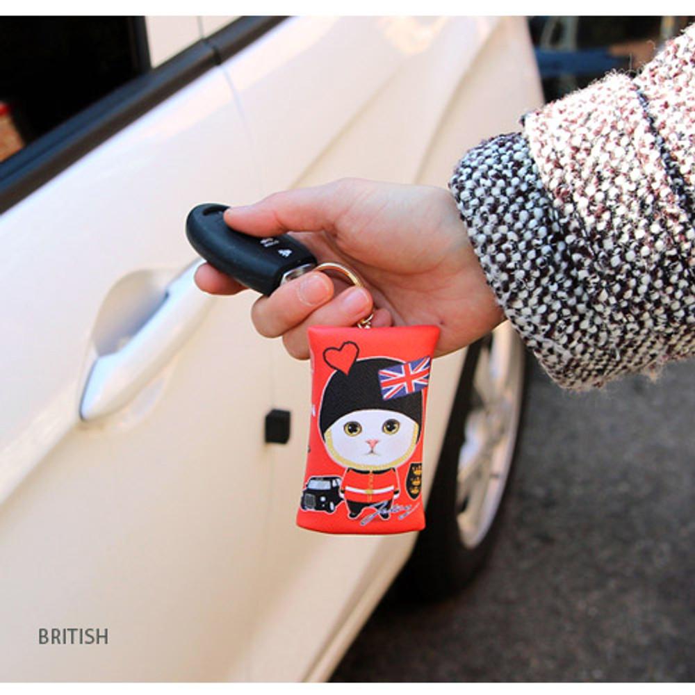 British - Choo Choo petit key ring with small zippered case