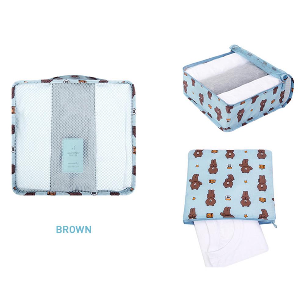 Brown - Line friends medium travel mesh bag packing organizer