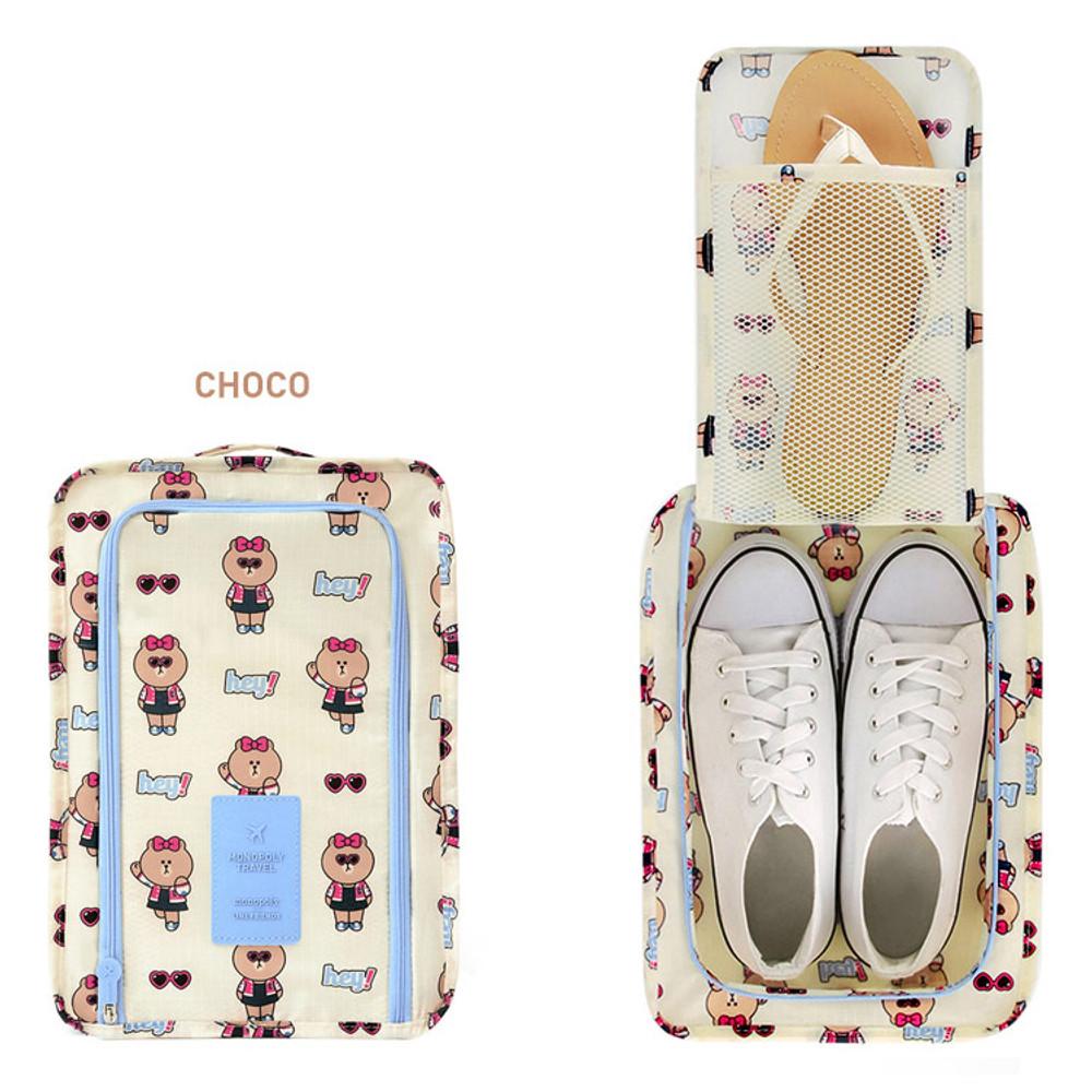 Choco - Line friends travel zip shoes pouch bag ver.3