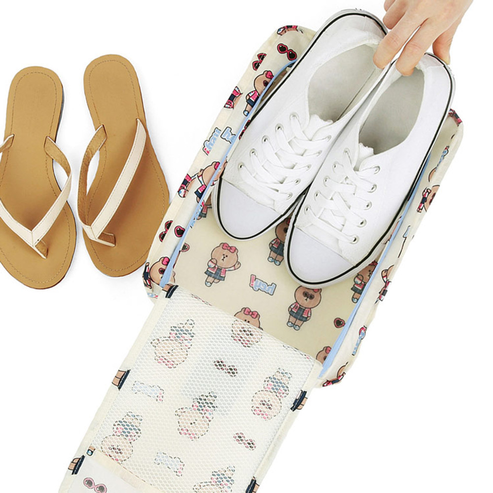Line friends travel zip shoes pouch bag ver.3