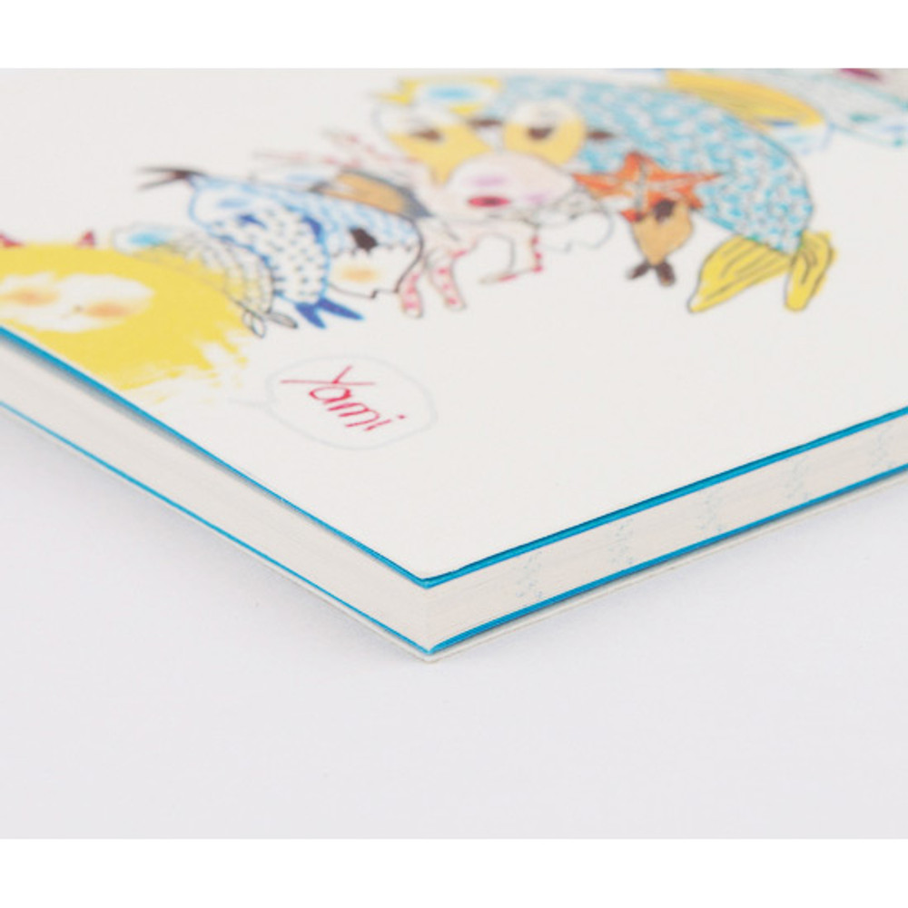 Detail of Mermaid illustration small lined notebook