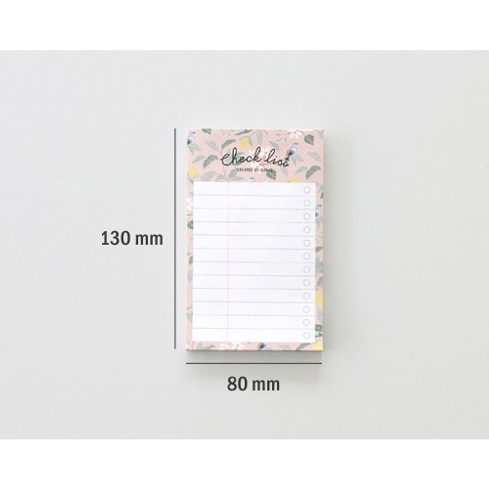 Size of Becoming pattern checklist notepad