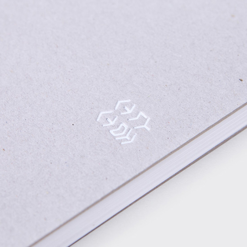 Detail of Mellow gray spiral lined notebook