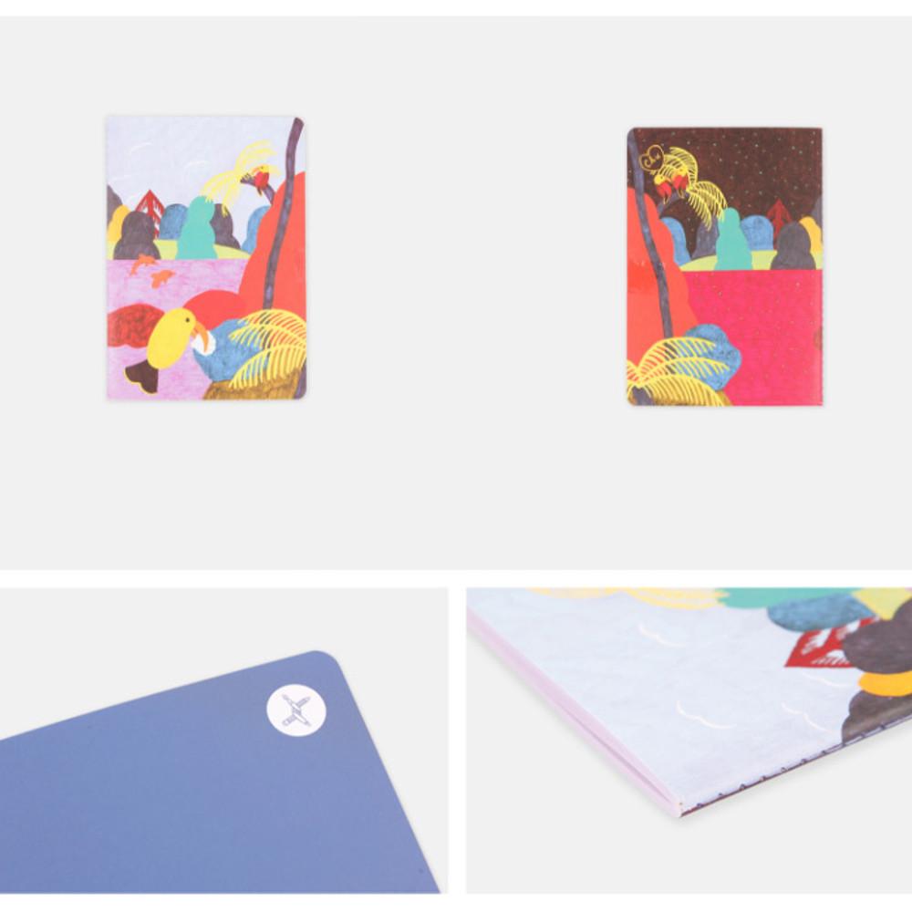 Detail of Bird Kiss sewn bound small plain notebook