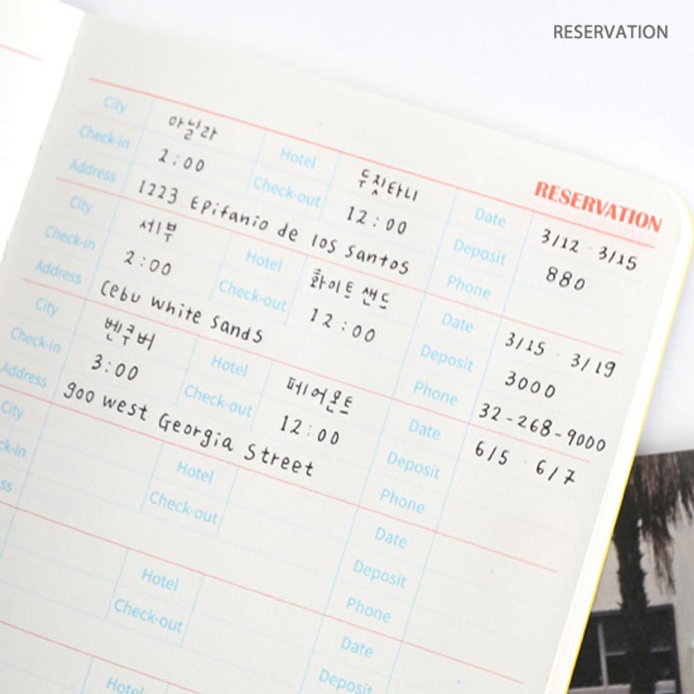Reservation - Recit de voyage travel planner notebook