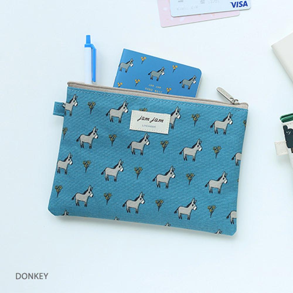 Donkey - Jam Jam cute illustration pattern zipper pouch