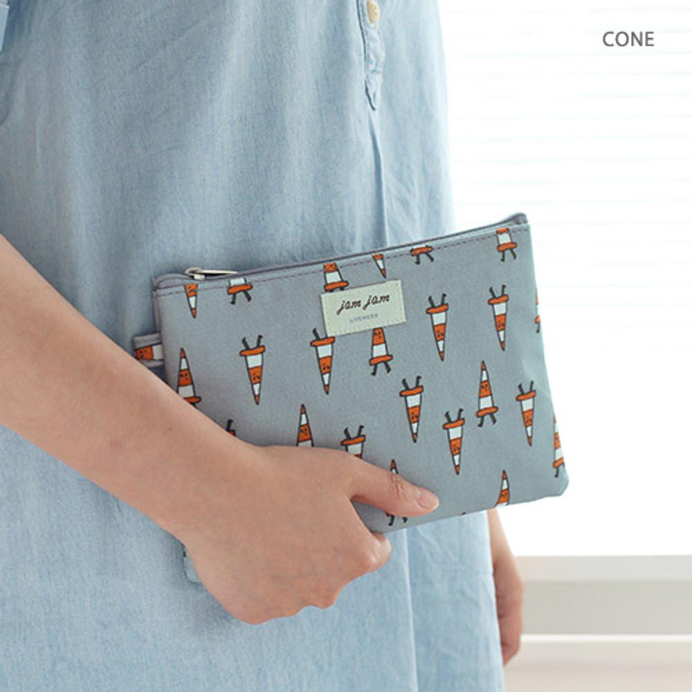 Cone - Jam Jam cute illustration pattern zipper pouch