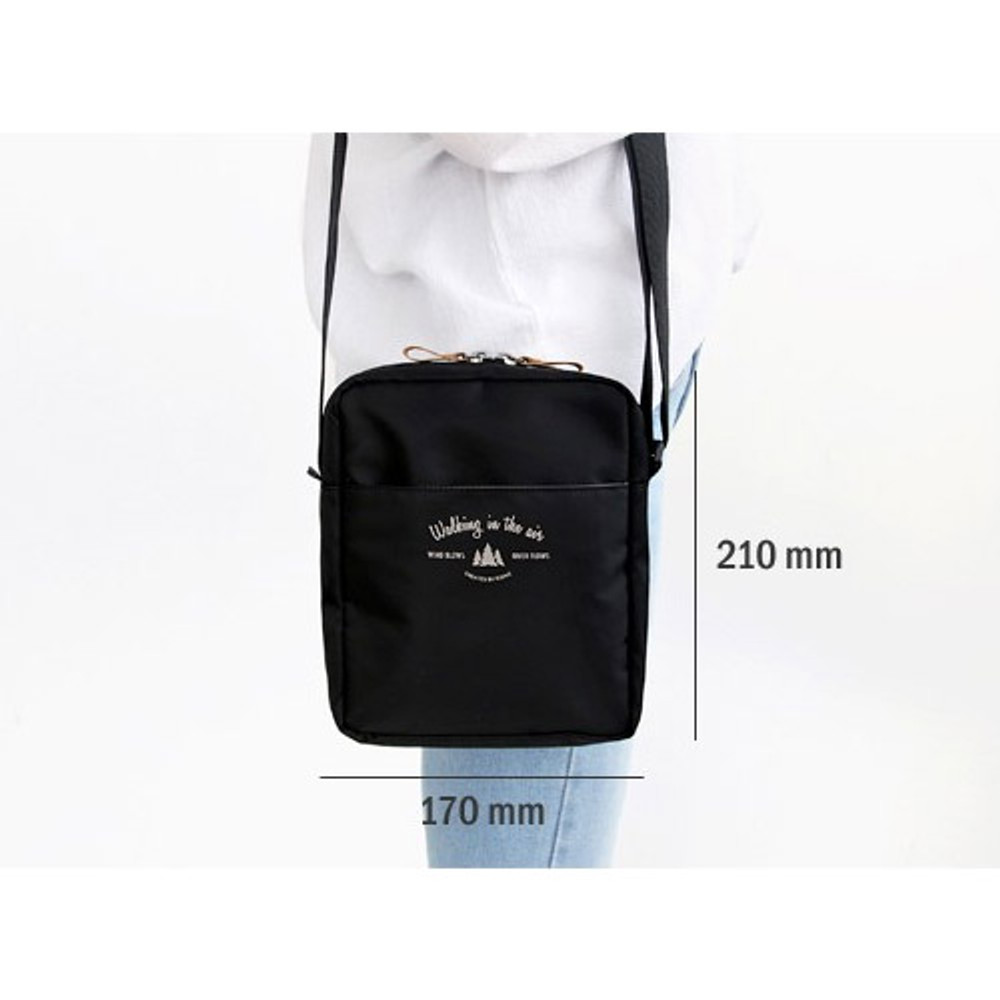 Size of Voyager double zippered crossbody bag