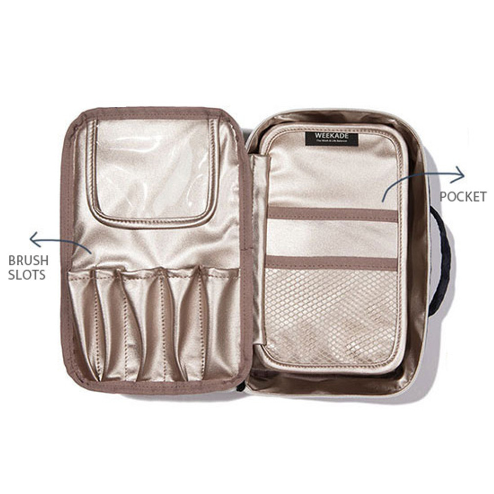 Composition of Weekade travel makeup cosmetic pouch bag