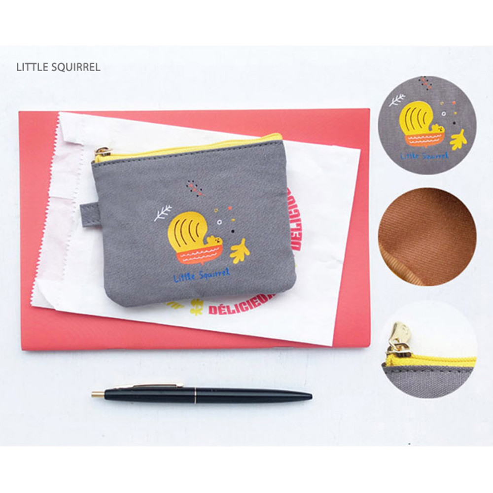 Little squirrel - Hey buddy soft flat small zipper pouch