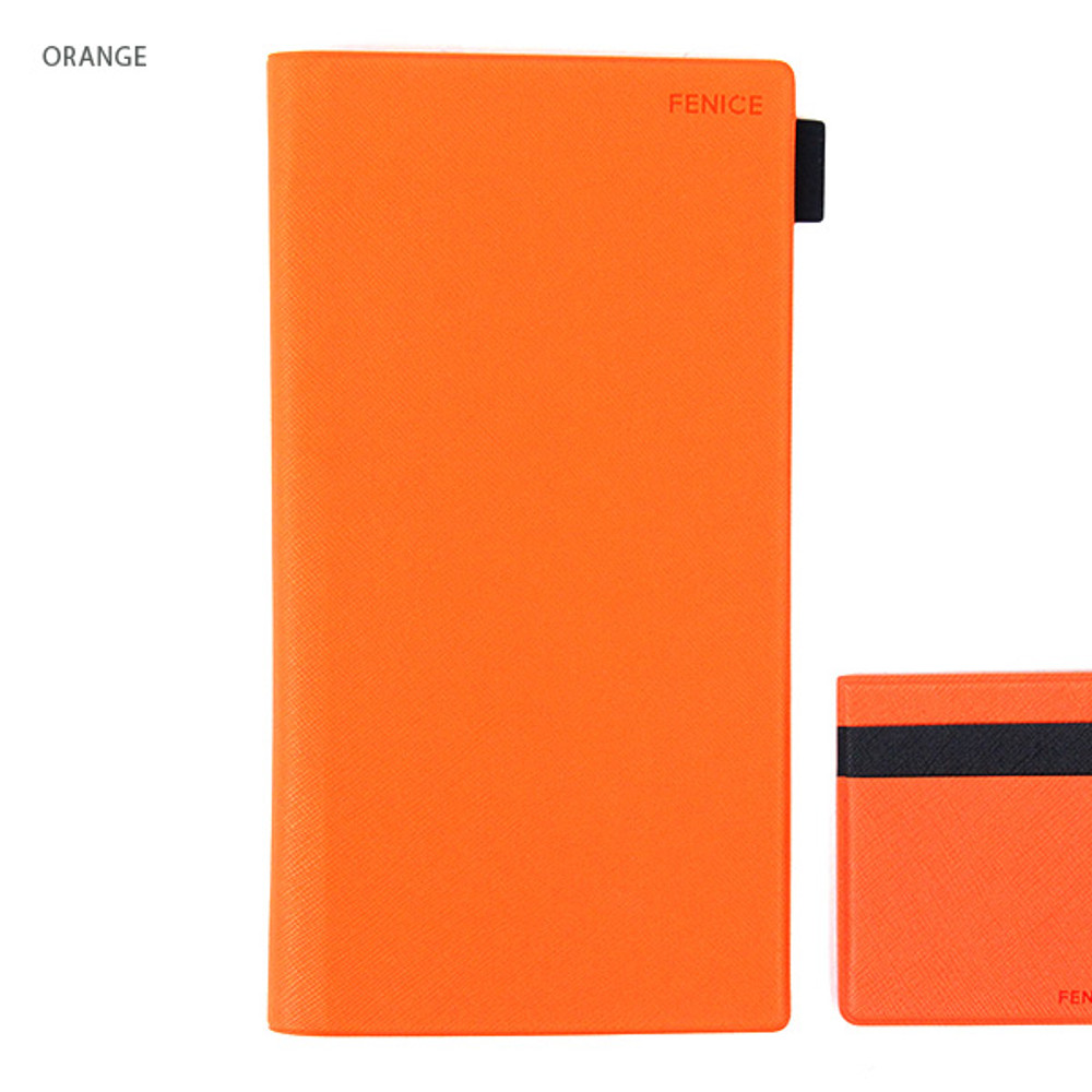 Orange - Premium business small notebook and pen holder