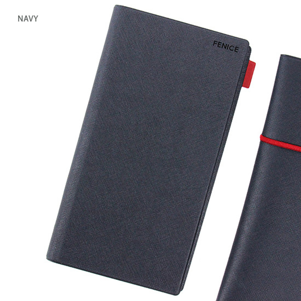 Navy - Premium business small notebook and pen holder