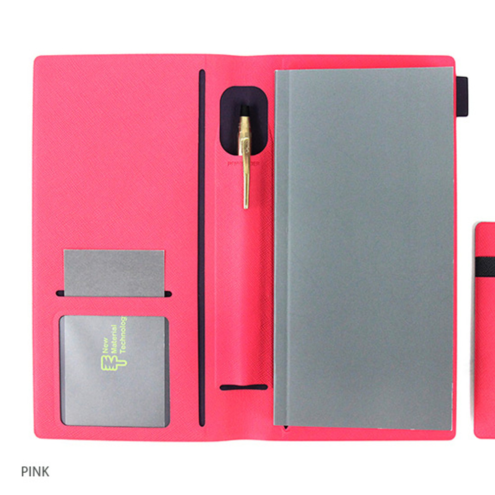 Pink - Premium business small notebook and pen holder