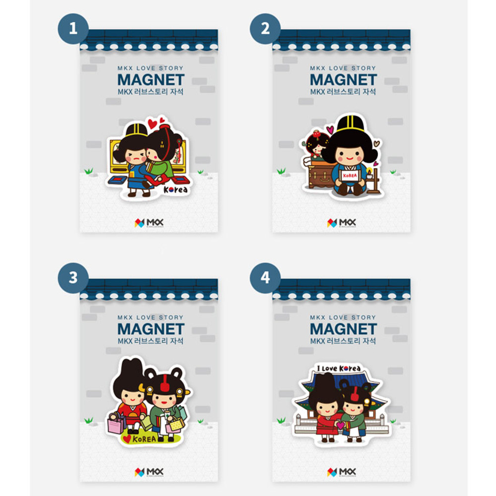 Korean traditional love story character magnet