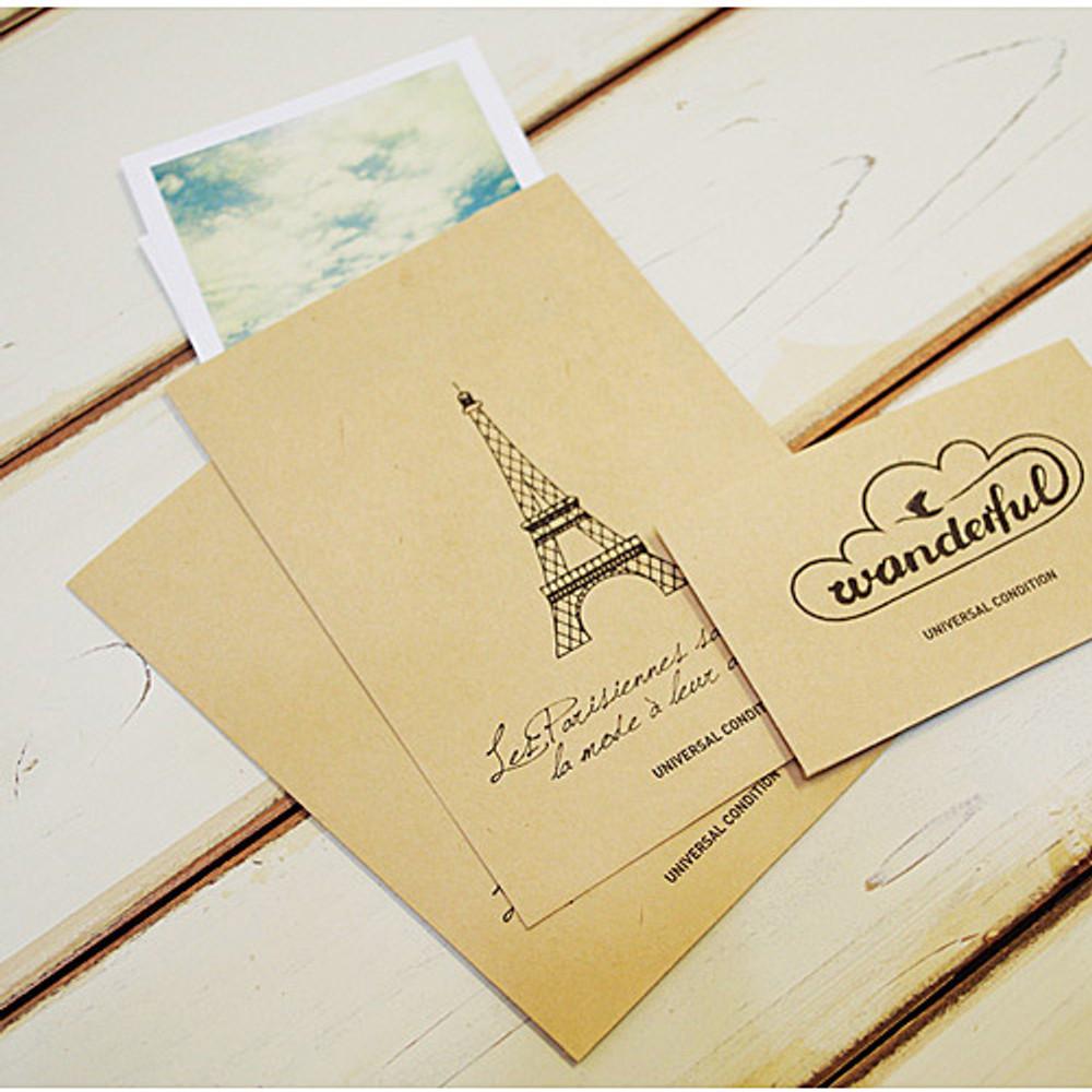 Eiffel tower postcard envelope set