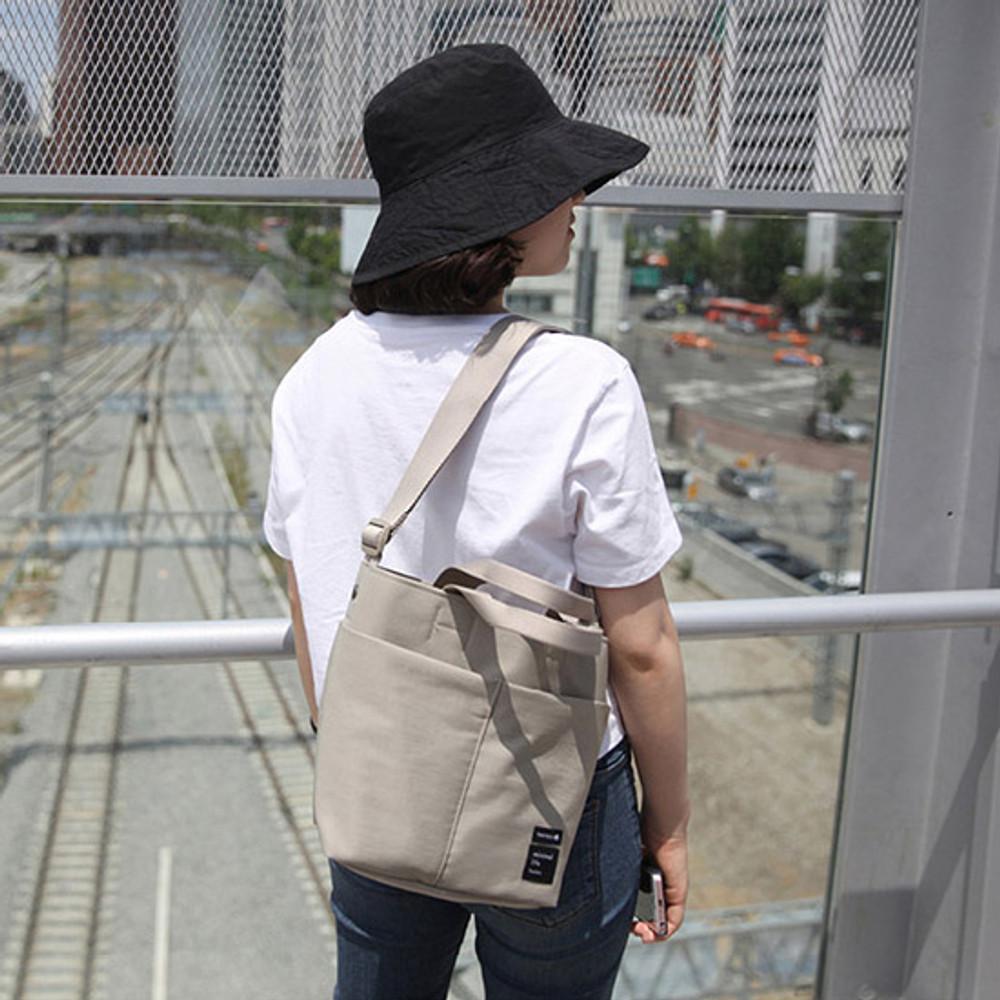 Beige - Travelus travel bucket shoulder bag