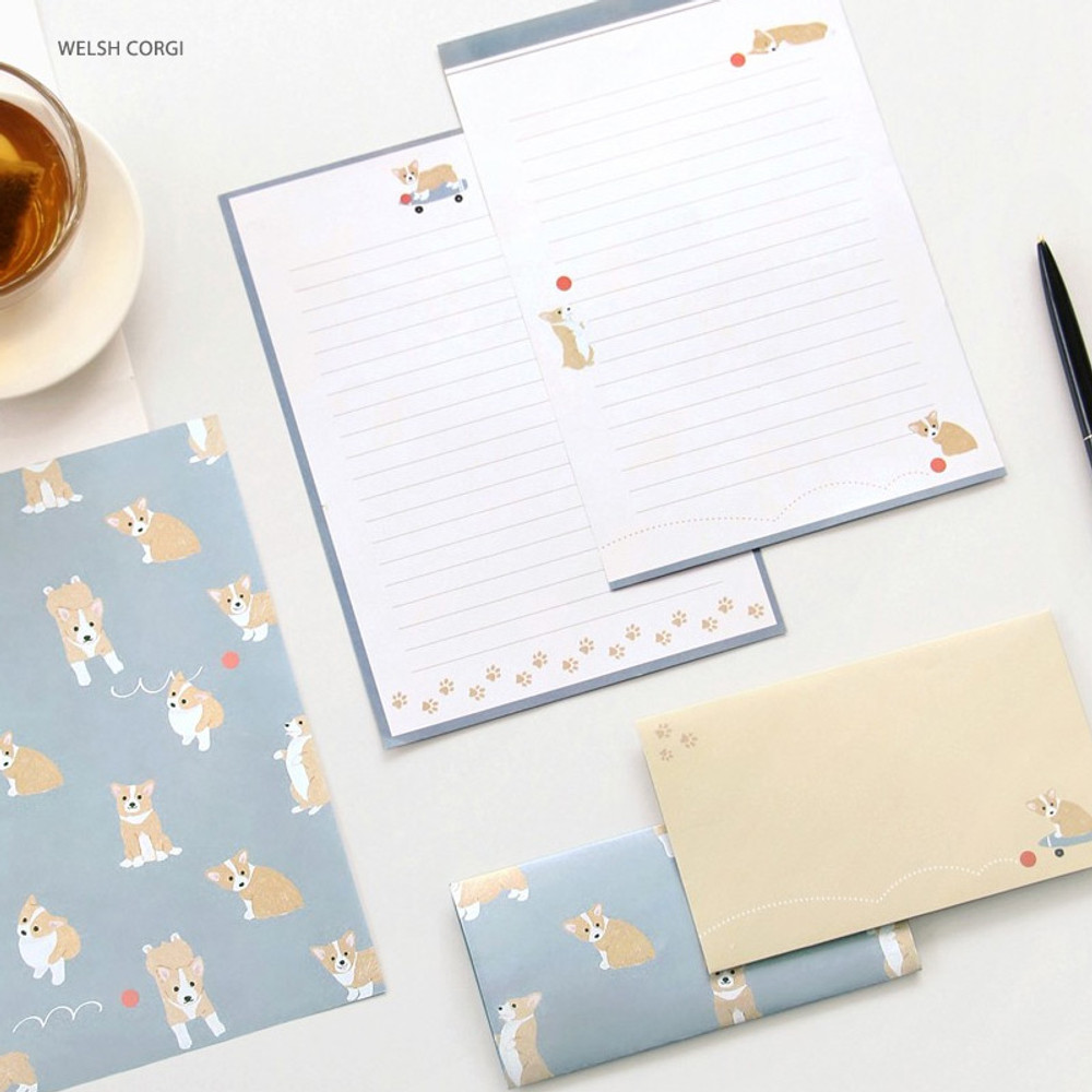 Welsh corgi - Pattern letter paper and envelope set for you