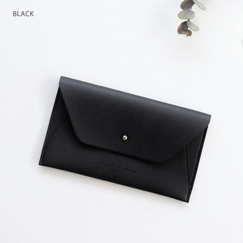 Black - Daily envelope style slim wallet