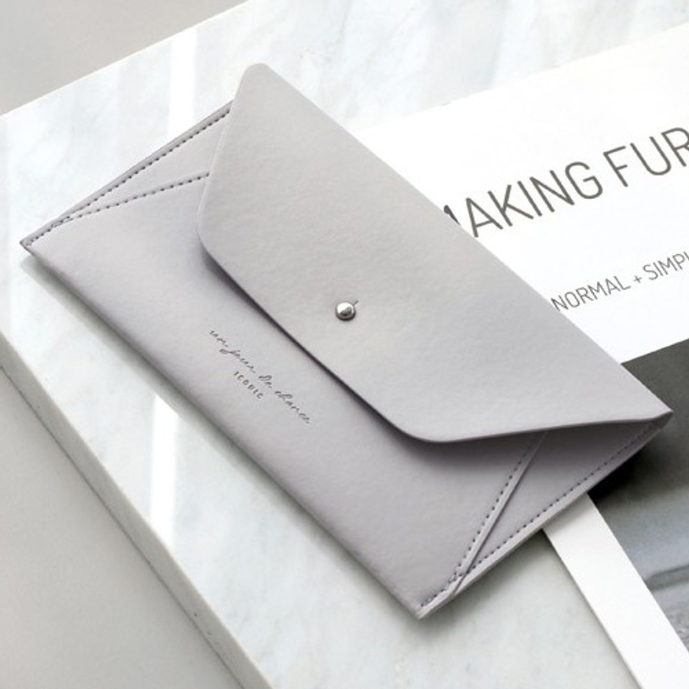 Gray - Daily envelope style slim wallet