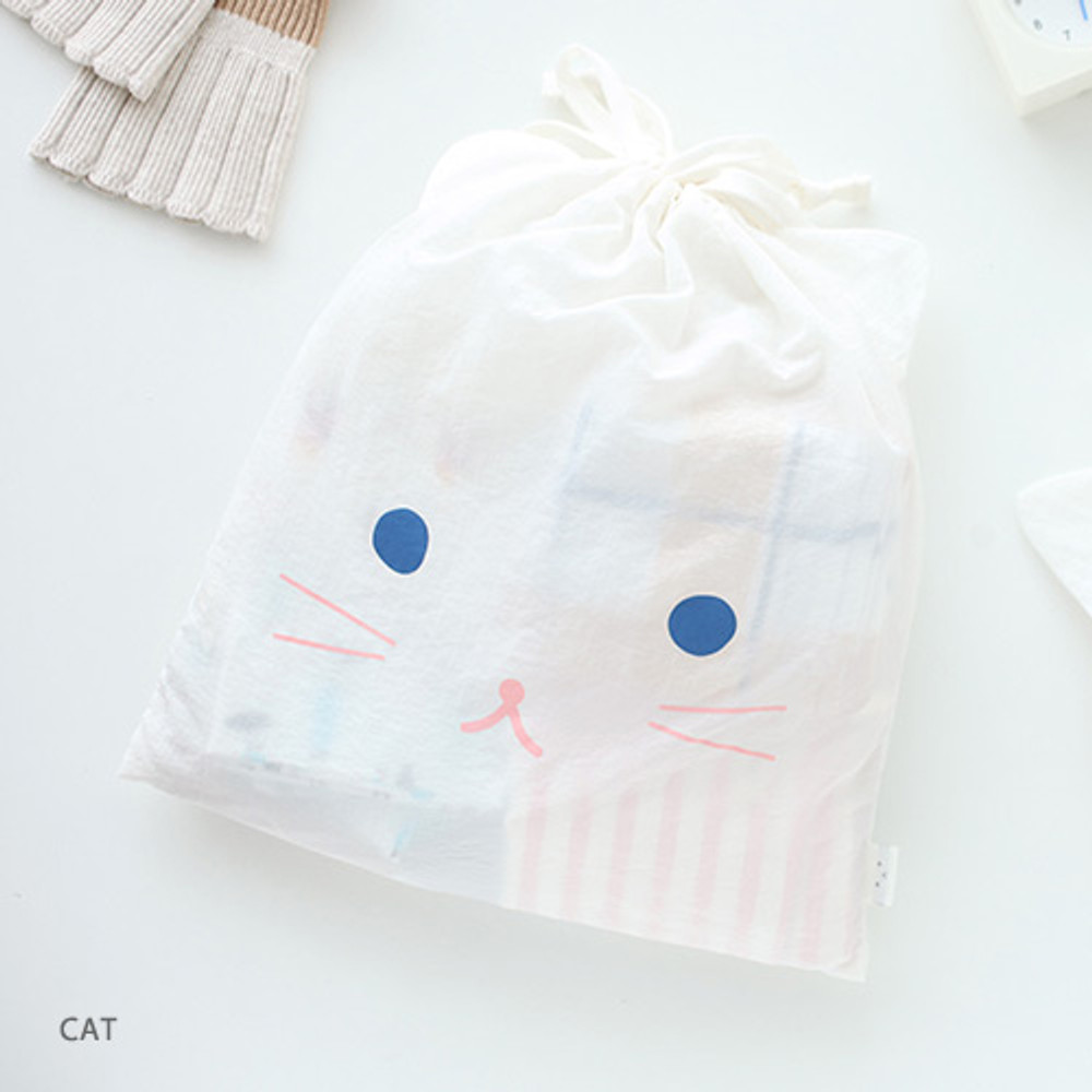 Cat - Popuree water resistant large drawstring pouch