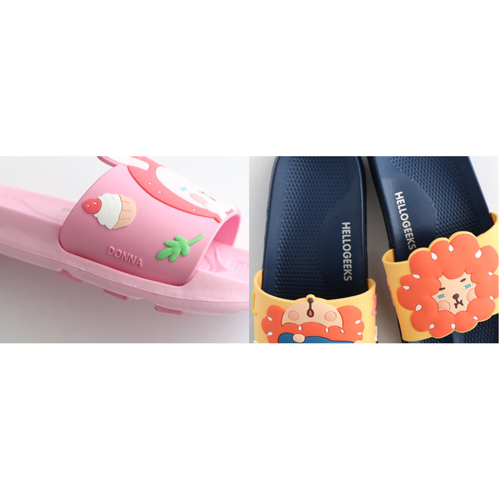 Detail of Hellogeeks petite PVC slide sandal