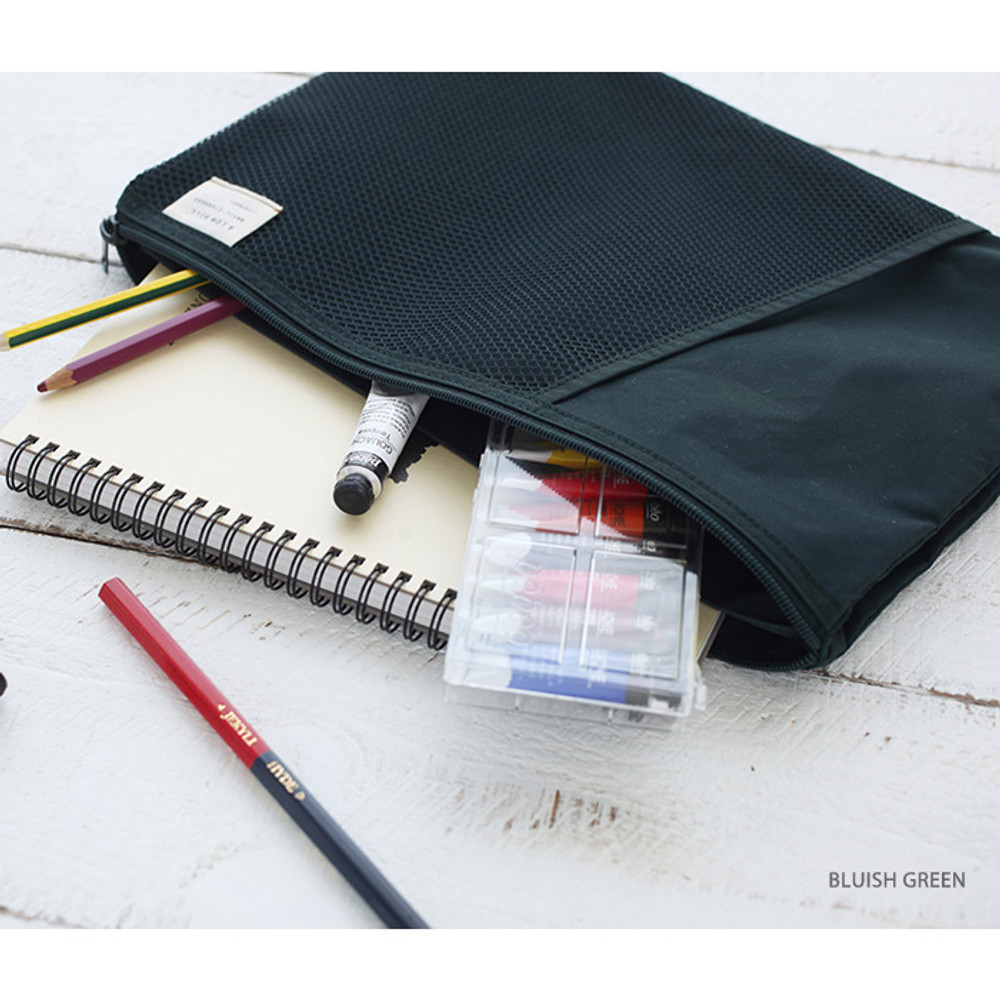 Bluish green - A low hill basic mesh pocket file pouch