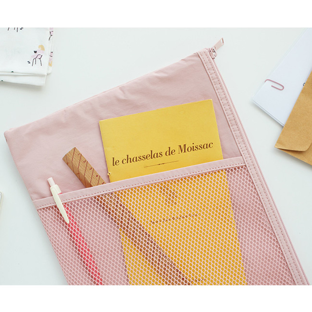 Indi pink - A low hill basic mesh pocket file pouch