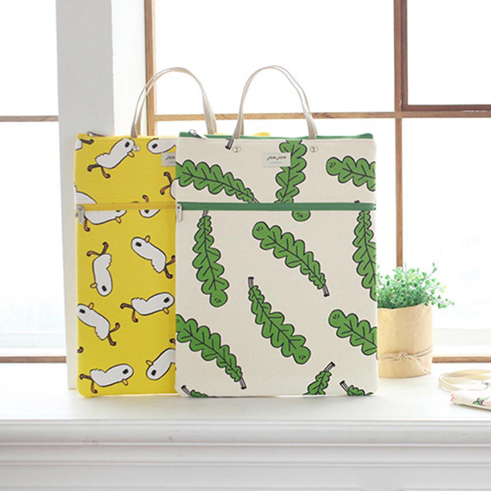 Jam Jam pattern zipper large tote bag
