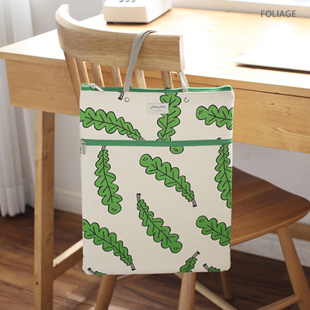 Foliage - Jam Jam pattern zipper large tote bag