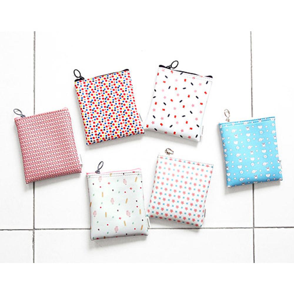 Pattern small zipper flat pouch