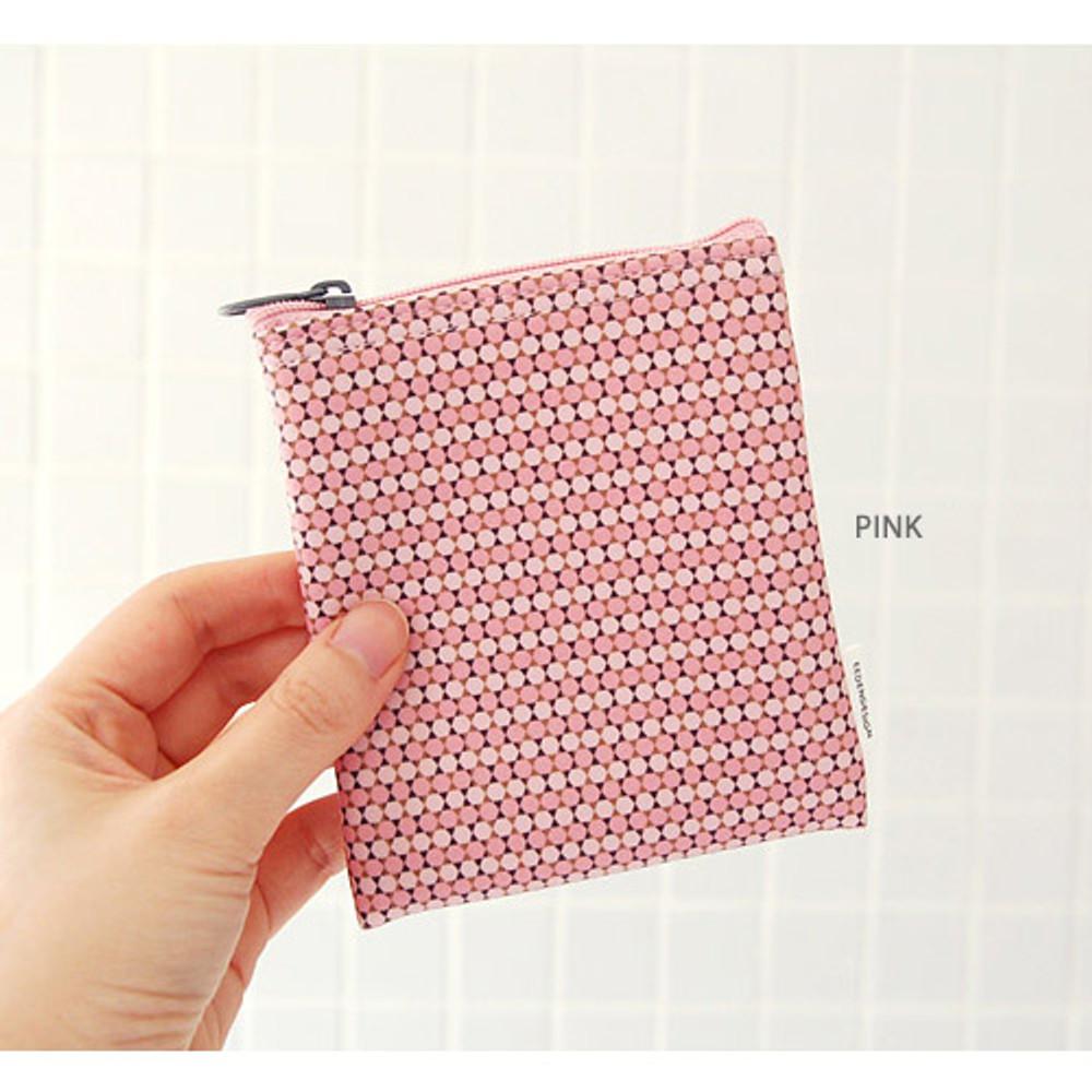 Pink - Pattern small zipper flat pouch